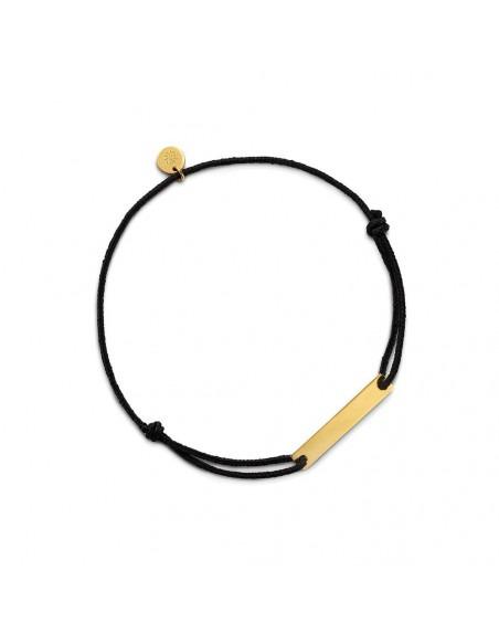 Bracelet plaque Réglisse longueur 22 mm or jaune sur cordon noir