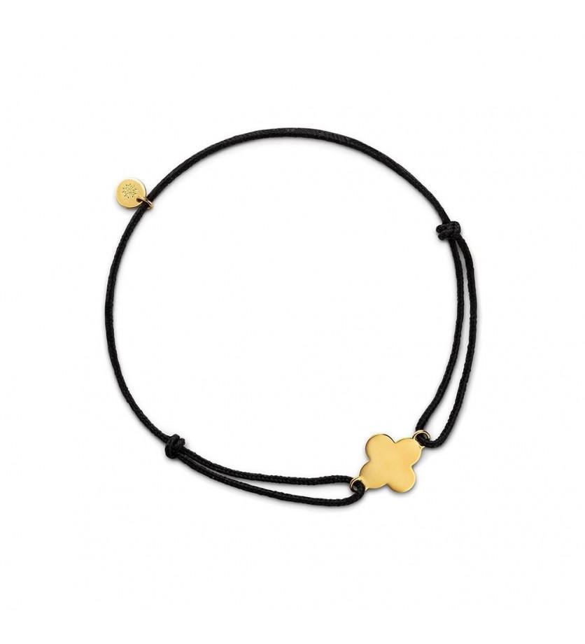 ARTHUS BERTRAND Bracelet Croix Trèfle 10mm or jaune sur cordon noir