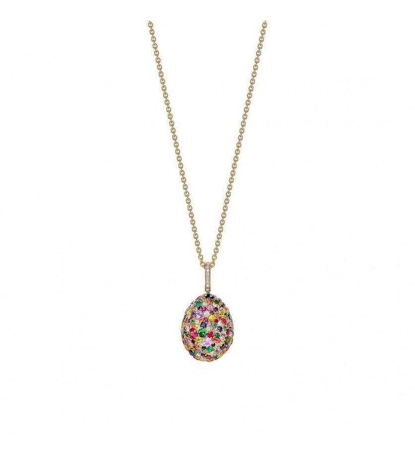 FABERGE Pendentif Oeuf (18mm) Emotion en or jaune pavé de diamants, rubis, émeraudes, tsavorites