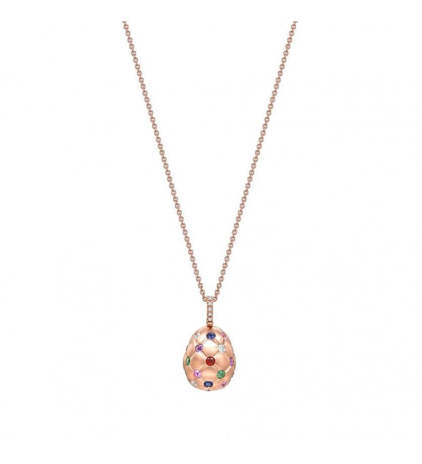 FABERGE Pendentif Oeuf (18mm) Treillage en or rose diamants, saphirs roses, saphirs bleus, tsavorite