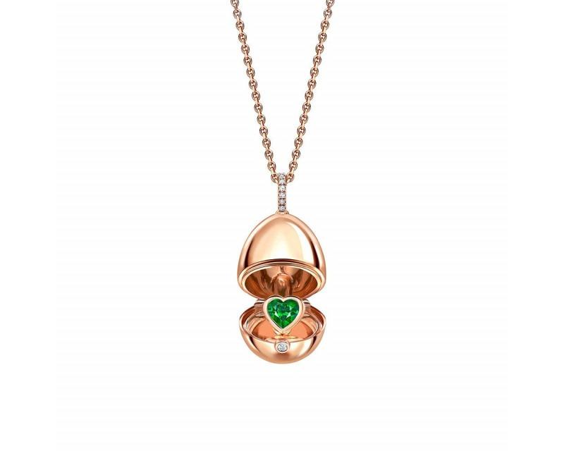 FABERGE Pendentif Oeuf (18mm) Surprise en or rose Coeur en émeraude de Zambie, belière pavée diamant