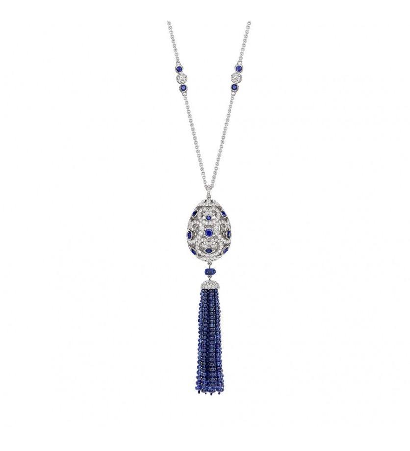 FABERGE Pendentif Impératrice Oeuf (26mm) en diamants et sap saphirs, gland en diamants et perles de
