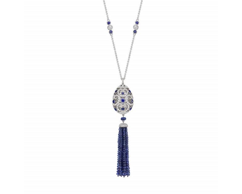 Pendentif Impératrice Oeuf (26mm) en diamants et sap saphirs, gland en diamants et perles de saphirs