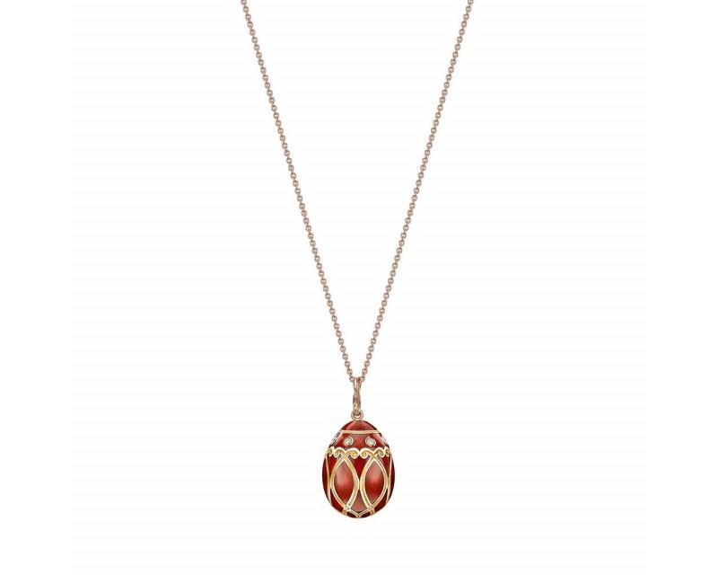 FABERGE Pendentif Oeuf (22mm) Palais Yelagin or rose diamants, émail guilloché rouge, chaîne en or r