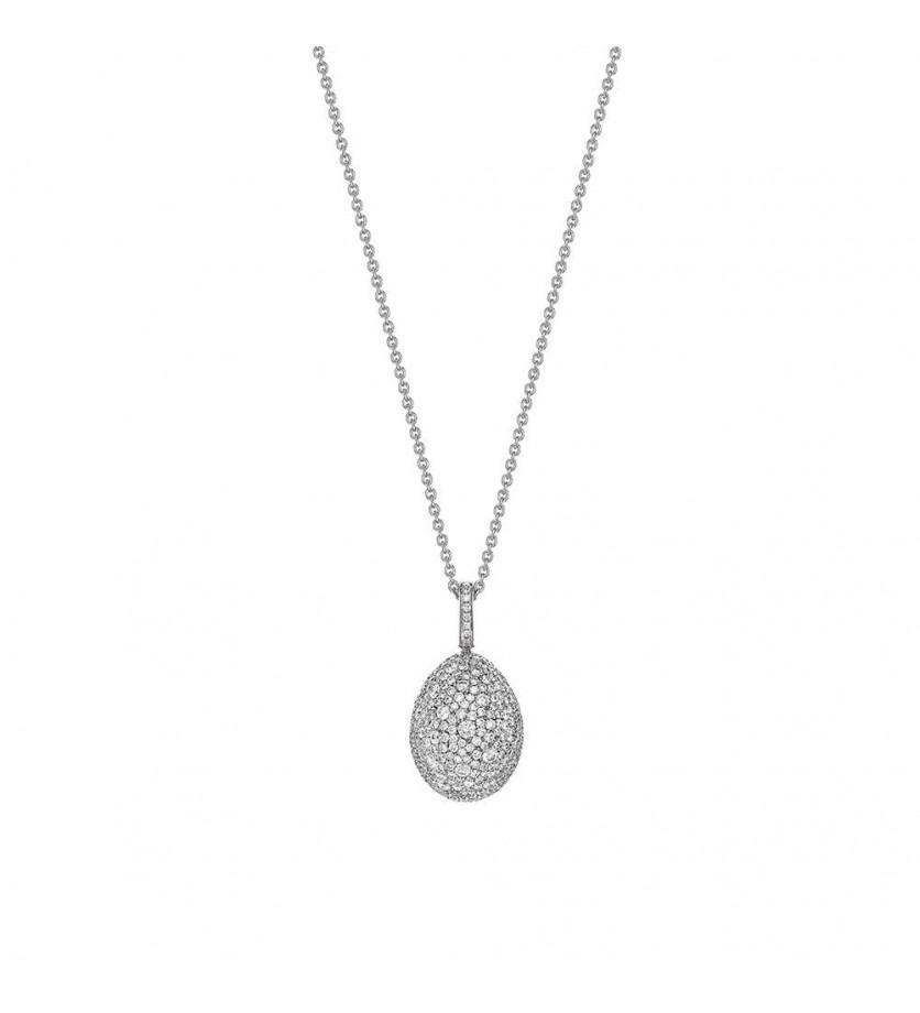 FABERGE Pendentif Oeuf (18mm) Emotion or blanc full pavé diamants, bélière pavée diamants