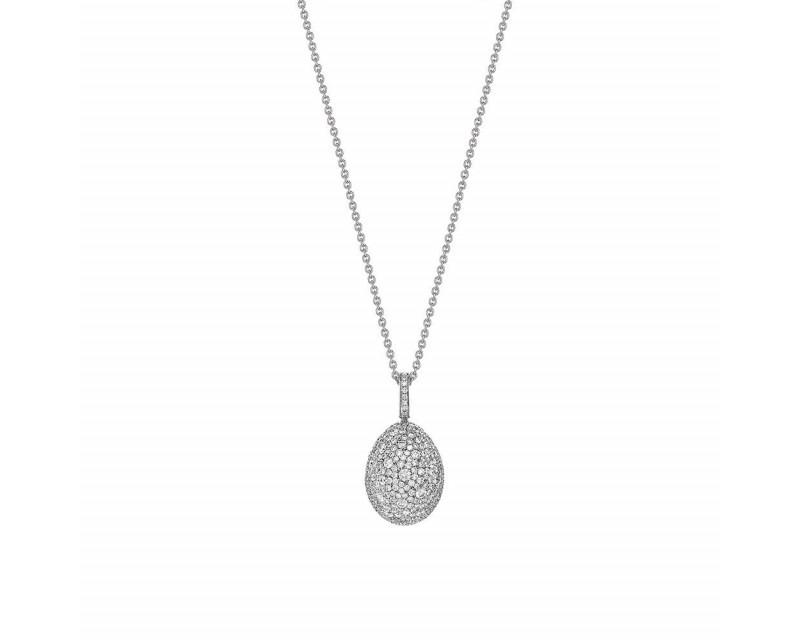 FABERGE Pendentif Oeuf (18mm) Emotion or blanc full pavé diamants, bélière pavée diamants, chaîne en