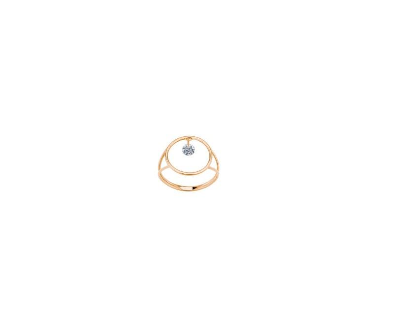 LA BRUNE ET LA BLONDE Bague Excentrique ronde or rose diamant brillant