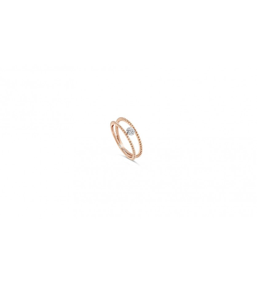 Bague Palline or rose diamant 0.20ct FSI1