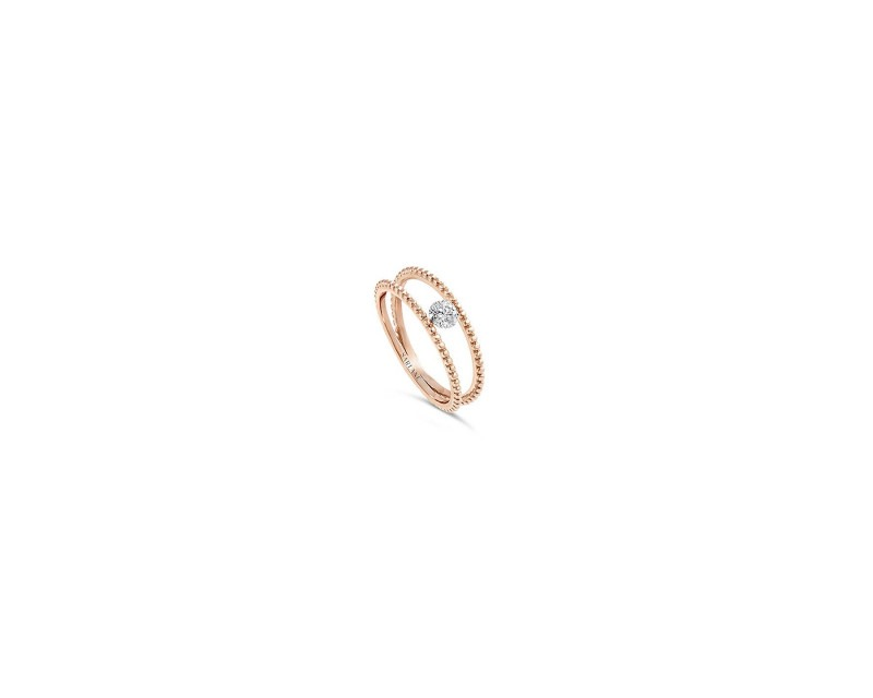 SARLANE Bague Palline or rose diamant 0.20ct FSI1