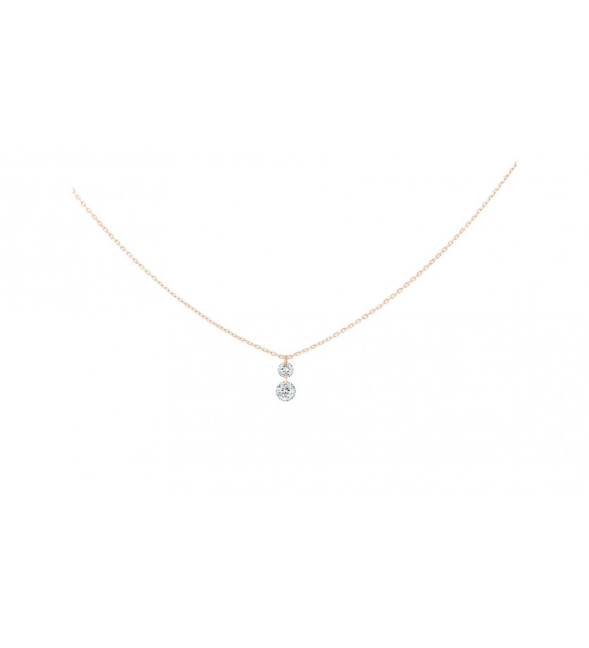 LA BRUNE ET LA BLONDE Collier 360° Duo or rose 2 diamants brillants 0,20ct