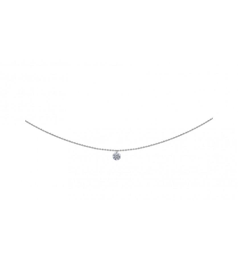 Pendentif 360° or gris diamant brillant 0,30ct