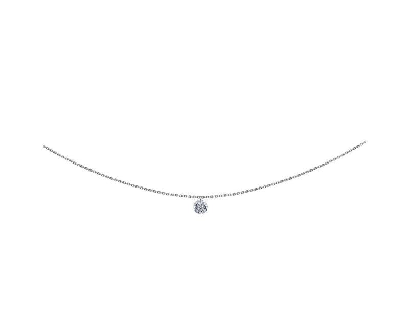 LA BRUNE ET LA BLONDE Pendentif 360° or gris diamant brillant 0,30ct