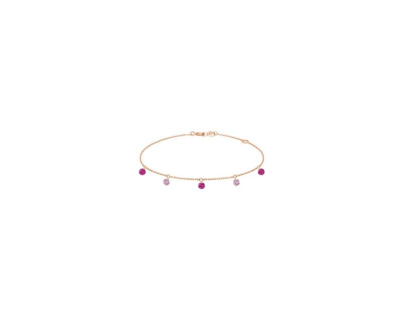 LA BRUNE ET LA BLONDE Bracelet Confetti Rose 5 pierres rubis et saphirs roses sur chaîne en or rose