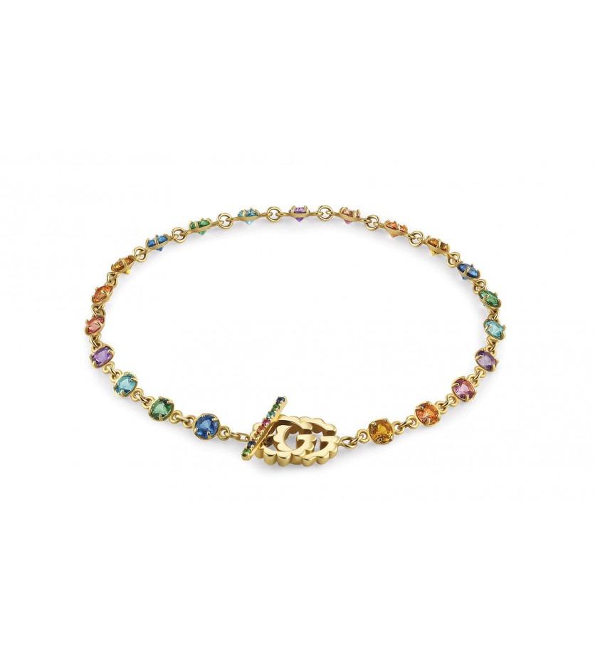 GUCCI Bracelet Running G or jaune saphir topaze tsavorite et quartz