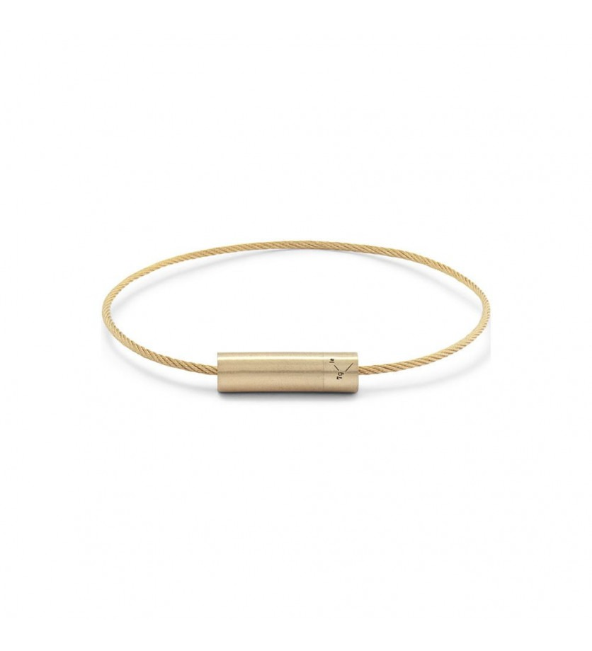 Bracelet Câble 7 Grammes or jaune lisse brossé Diamètre fermoir 5.2 mm, diamètre câble 1.1