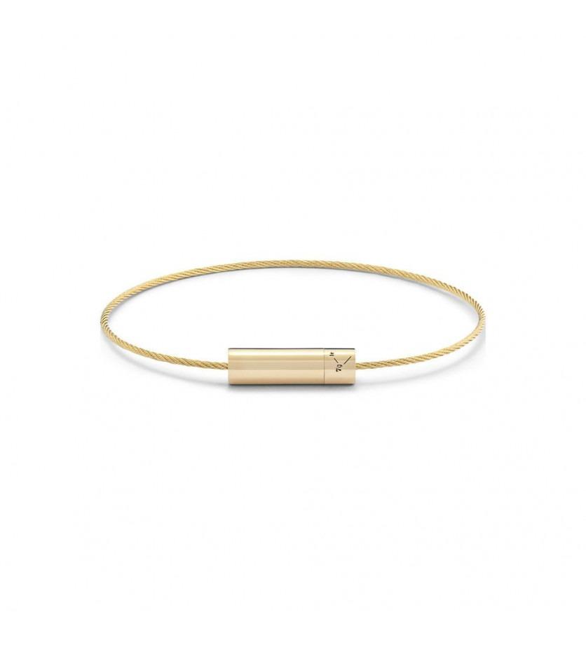 Bracelet Câble 7 Grammes or jaune lisse poli Diamètre fermoir 5.2 mm, diamètre câble 1.1 m