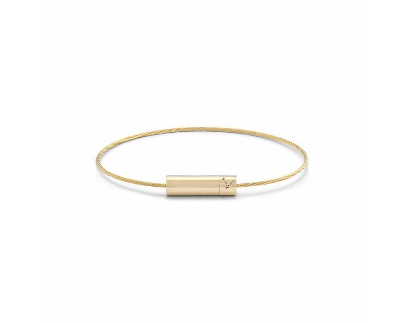Bracelet Câble 7 Grammes or jaune lisse poli Diamètre fermoir 5.2 mm, diamètre câble 1.1 mm