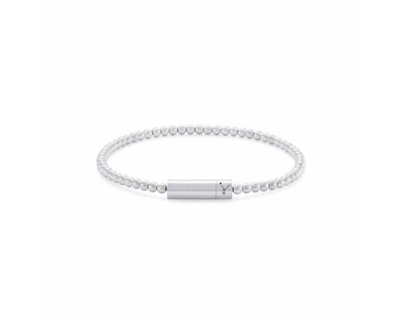 LE GRAMME Bracelet Beads 11 Grammes argent lisse brossé Diamètre fermoir 5.2 mm, diamètre perle 3 mm