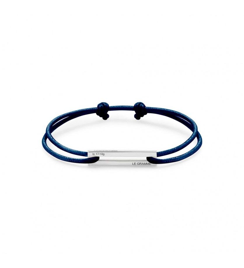 LE GRAMME Bracelet Cordon 1.7 Grammes argent lisse poli cordon marine, largeur plaque 5.8 mm
