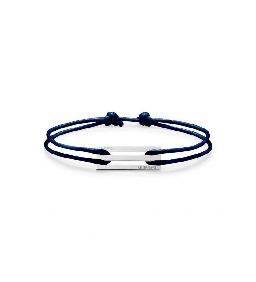 Bracelet Cordon 2.5 Grammes argent lisse poli cordon marine