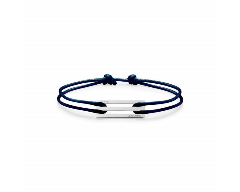 LE GRAMME Bracelet Cordon 2.5 Grammes argent lisse poli cordon marine, largeur plaque 9.5 mm