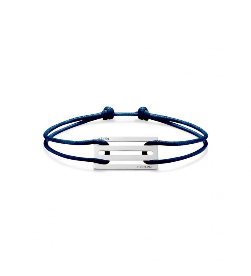 LE GRAMME Bracelet Cordon 3.3 Grammes argent lisse poli cordon marine, largeur plaque 13.2 mm