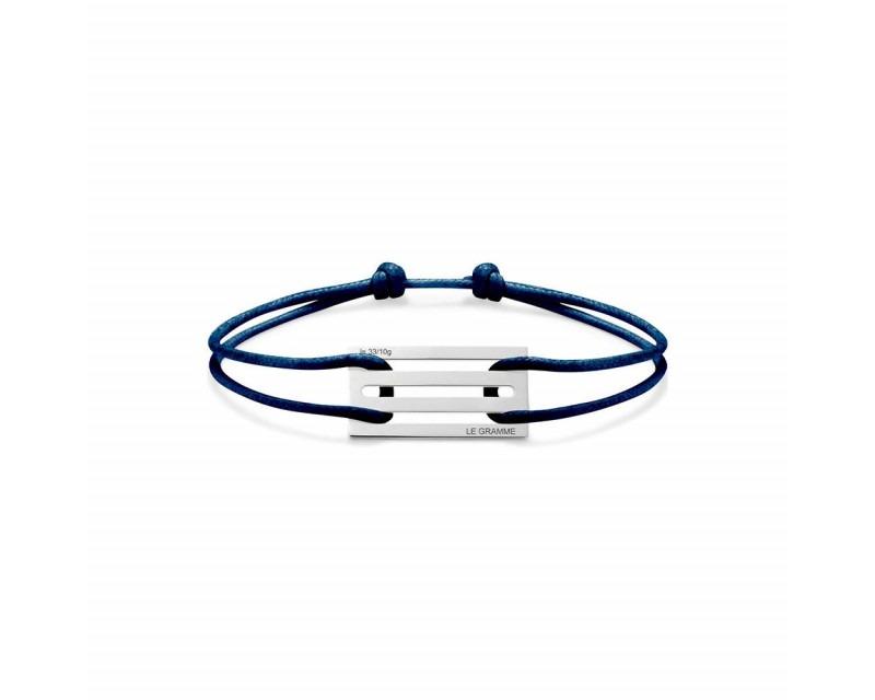 Bracelet Cordon 3.3 Grammes argent lisse poli cordon marine