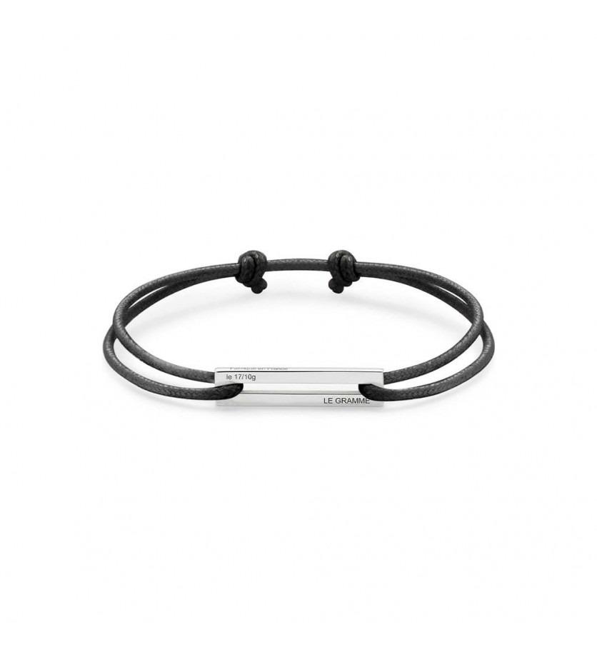 Bracelet Cordon 1.7 Grammes argent lisse poli cordon noir, largeur plaque 5.8 mm