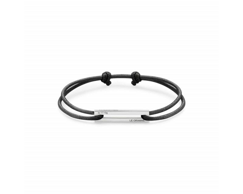 LE GRAMME Bracelet Cordon 1.7 Grammes argent lisse poli cordon noir, largeur plaque 5.8 mm