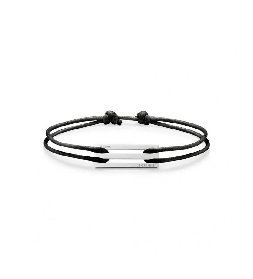 Bracelet Cordon 2.5 Grammes argent lisse poli cordon noir
