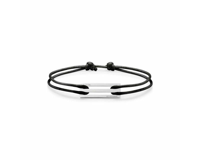 LE GRAMME Bracelet Cordon 2.5 Grammes argent lisse poli cordon noir, largeur plaque 9.5 mm