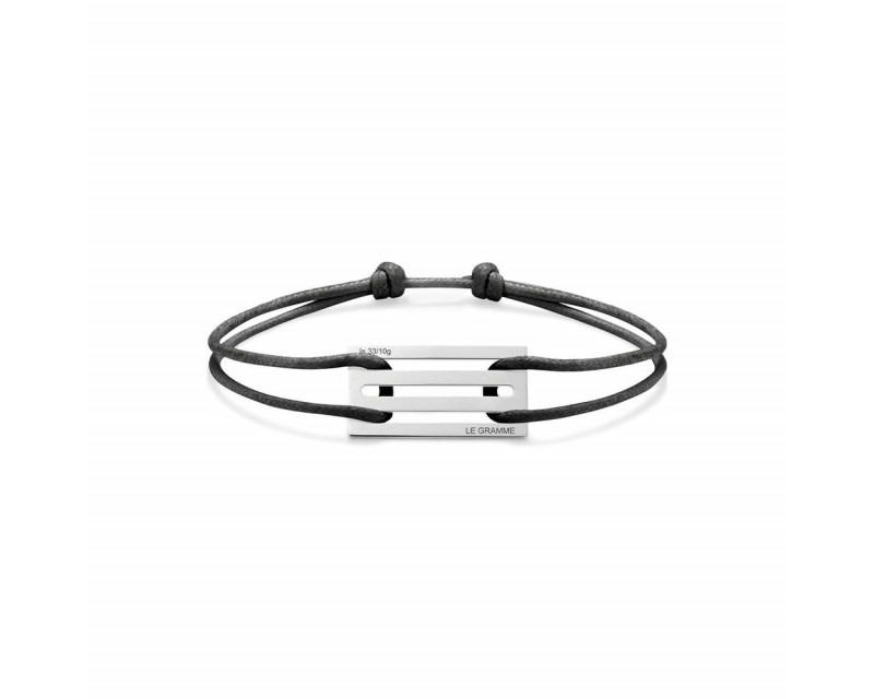 LE GRAMME Bracelet Cordon 3.3 Grammes argent lisse poli cordon noir , largeur plaque 13.2 mm