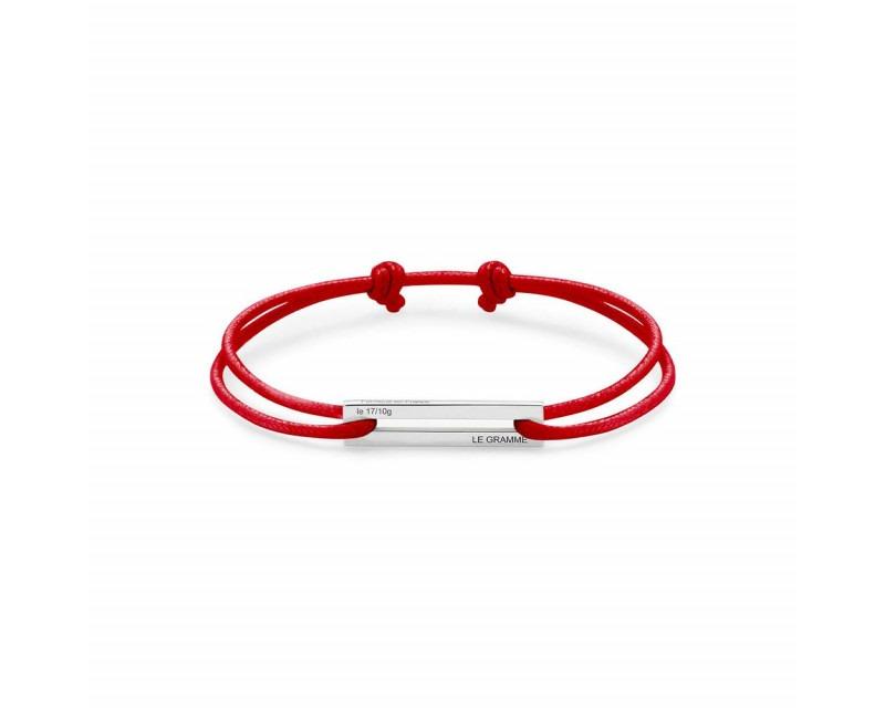 LE GRAMME Bracelet Cordon 1.7 Grammes argent lisse poli cordon rouge, largeur plaque 5.8 mm