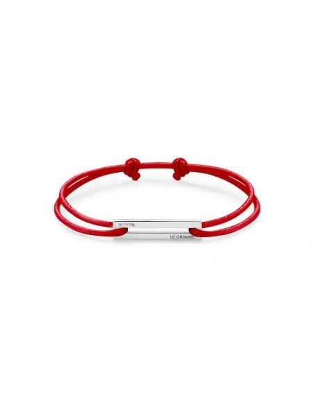 Bracelet Cordon 1.7 Grammes argent lisse poli cordon rouge