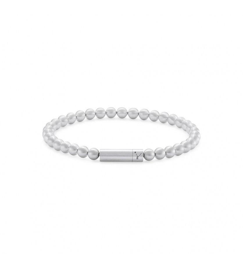 LE GRAMME Bracelet Beads 25 Grammes argent lisse brossé Diamètre fermoir 5.2 mm, diamètre perle 5 mm