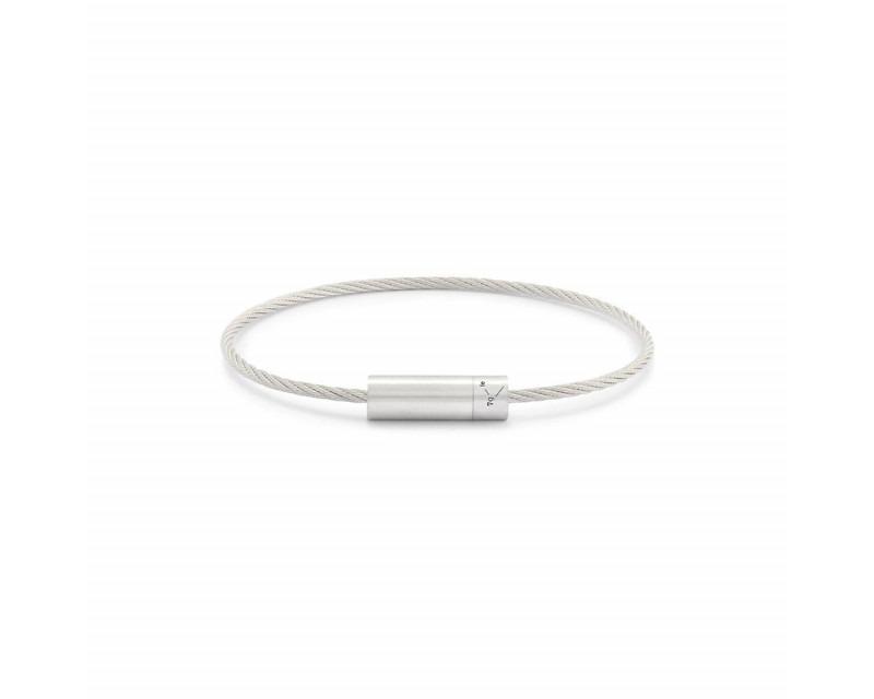 LE GRAMME Bracelet Câble 7 Grammes argent lisse brossé Diamètre fermoir 5.8 mm, diamètre câble 1.8 m