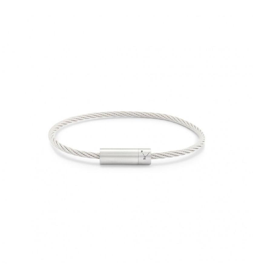 Bracelet Câble 9 Grammes argent lisse brossé Diamètre fermoir 6.2 mm, diamètre câble 2.2 m
