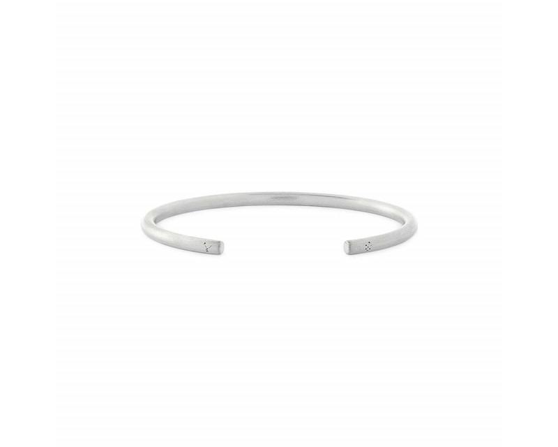 LE GRAMME Bracelet Jonc 15 Grammes argent lisse brossé Epaisseur 3.5 mm, taille S