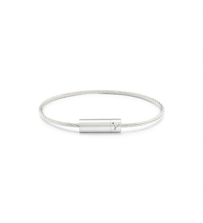 LE GRAMME Bracelet Câble 7 Grammes argent lisse poli Diamètre fermoir 5.8 mm, diamètre câble 1.8 mm