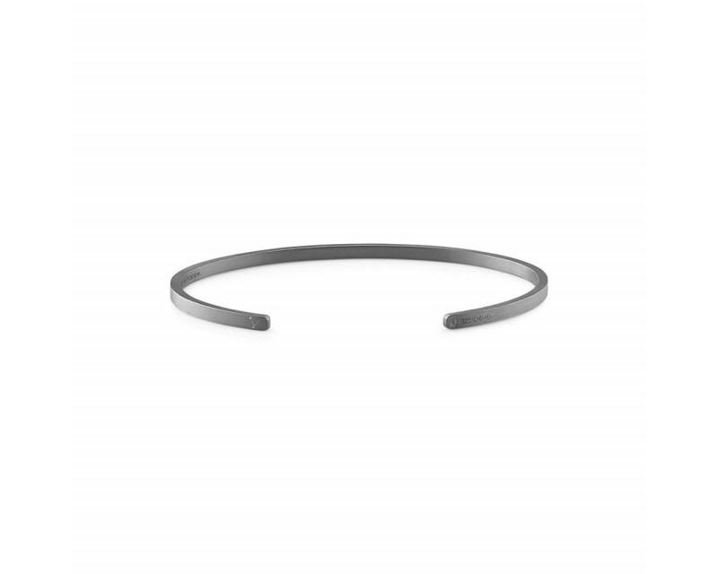 Bracelet Ruban 7 Grammes argent noir lisse brossé Largeur 2.5 mm, taille L