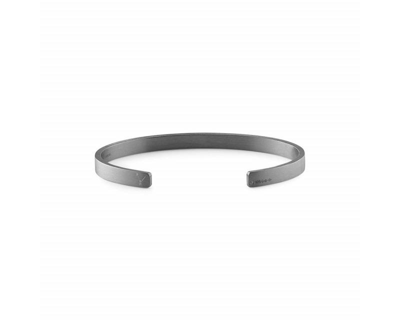 LE GRAMME Bracelet Ruban 15 Grammes argent noir lisse brossé Largeur 5 mm, taille M