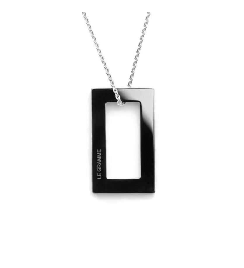 Médaille Rectangulaire 2.1 Grammes céramique noire lisse polie sur chaîne en argent 64 cm