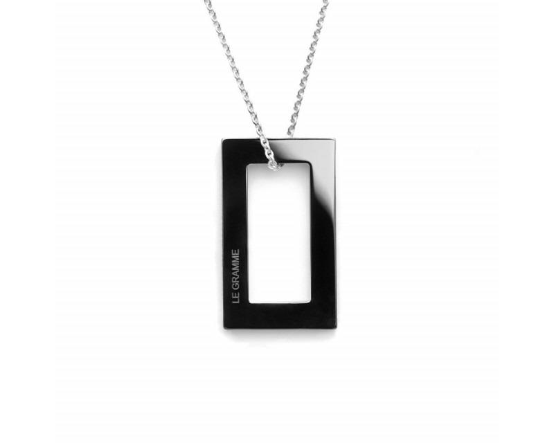 LE GRAMME Médaille Rectangulaire 2.1 Grammes céramique noire lisse polie sur chaîne en argent 64 cm
