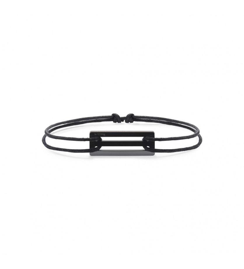 Bracelet Cordon 1.7 Grammes céramique noire lisse polie cordon noir, largeur plaque 5.8 mm
