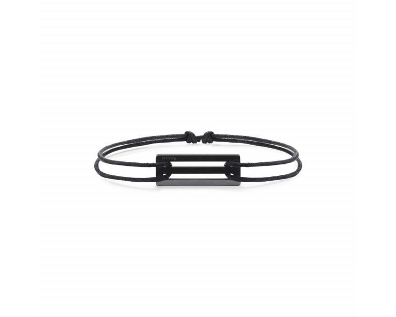 LE GRAMME Bracelet Cordon 1.7 Grammes céramique noire lisse polie cordon noir, largeur plaque 5.8 mm