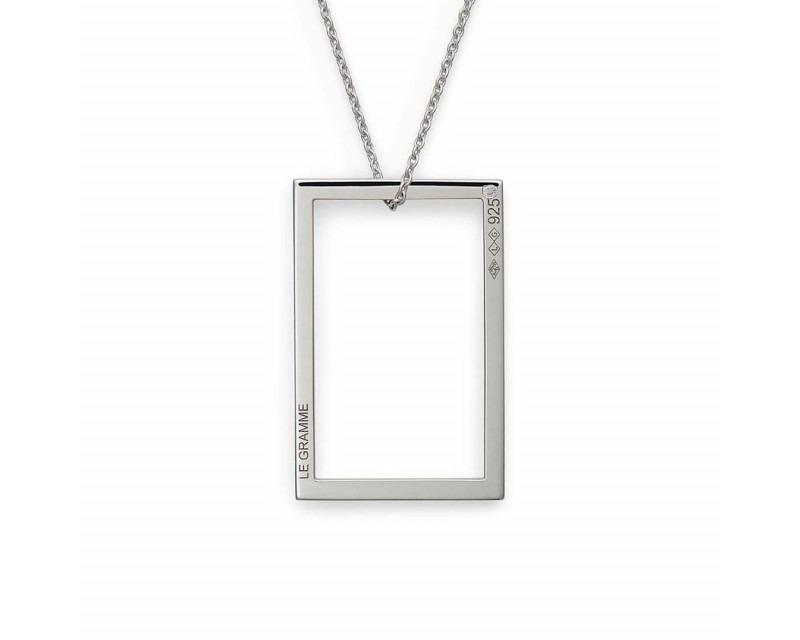 LE GRAMME Médaille Rectangulaire 2.6 Grammes argent lisse poli sur chaîne en argent 64 cm