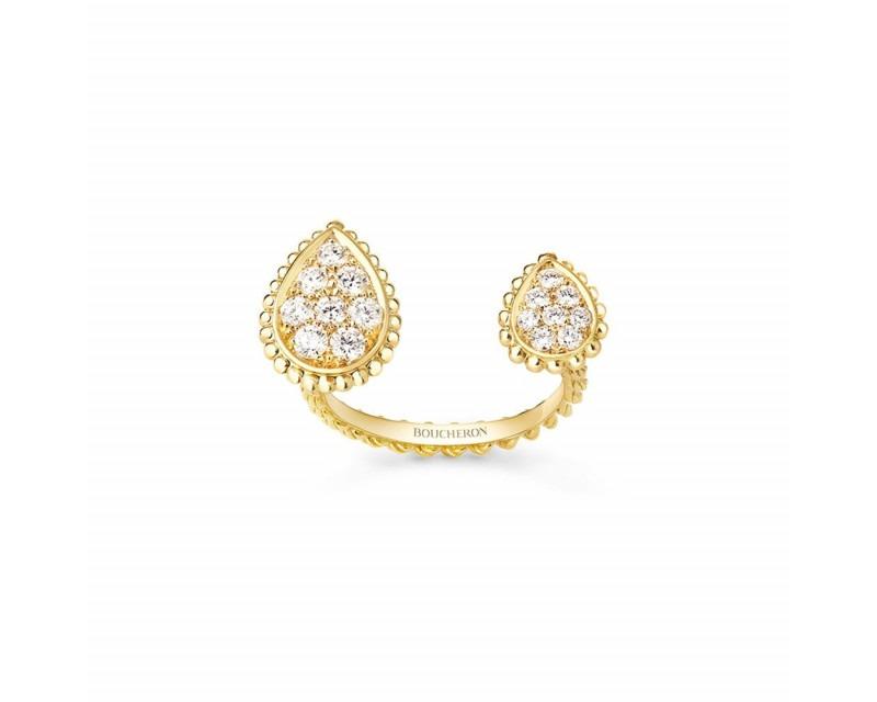 BOUCHERON Bague Serpent Boheme motifs S XS or jaune diamants 0.47ct