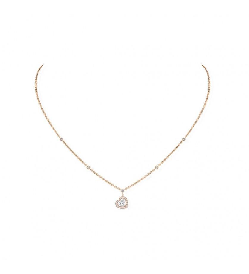 MESSIKA Colier Joy diamant coeur sur chaîne en or rose avec mini diamants sertis clos