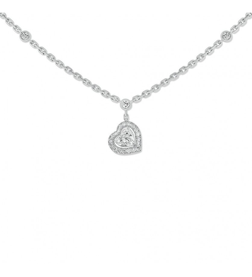 Collier Joy diamant coeur sur chaîne en or blanc