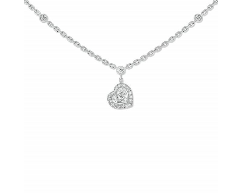 Collier Joy diamant coeur sur chaîne en or gris
